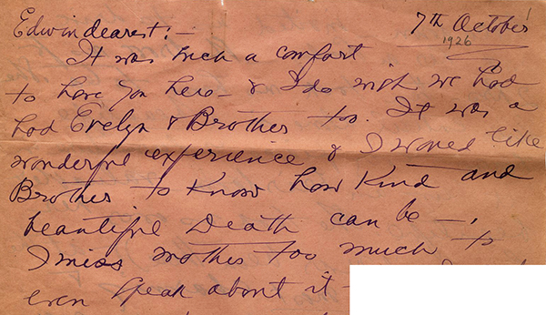 Portion of letter from Lucine to Edwin, October 7, 1926