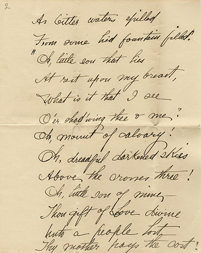 Page 2 of poem, Upon His Mother's Breast, by Julia Neely Finch, circa 1900