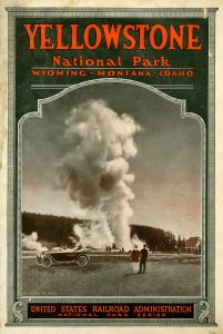 Brochure for Yellowstone National Park, circa 1919, showing an image of Old Faithful