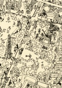 cartoon drawing showing aerial view of UA campus, image cropped from larger yearbook endpaper