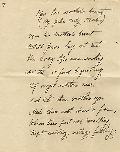 Page 1 of poem, Upon His Mother's Breast, by Julia Neely Finch, circa 1900