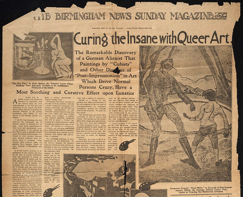 Newspaper article, Curing the Insane with Queer Art, from The Birmingham News Sunday Magazine, March 2, 1913