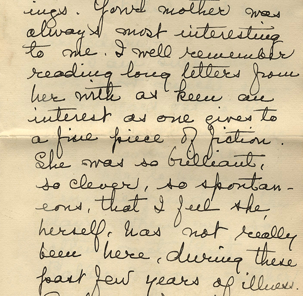 Portion of letter from Gloria to Edwin, September 30, 1926