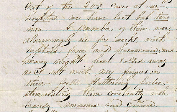 excerpt from letter from Augusta Evans to Rachel, January 1862