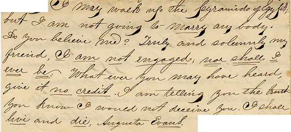 excerpt from letter from Augusta Evans to Rachel, July 1860