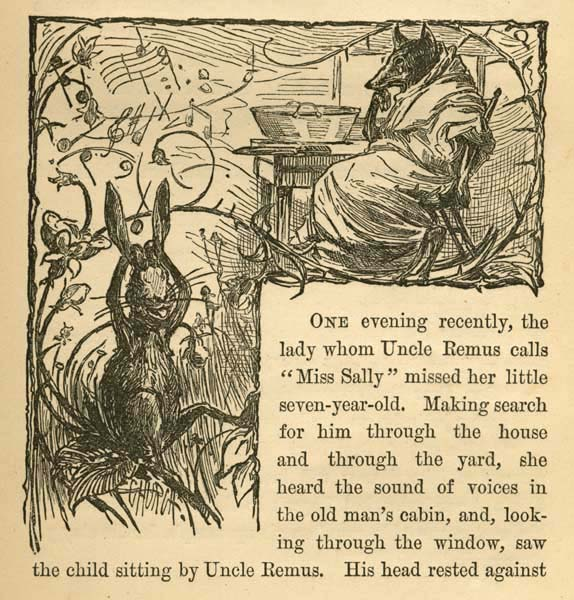Image and text excerpt from Joel Chandler Harris's story Brer Rabbit and Brer Wolf