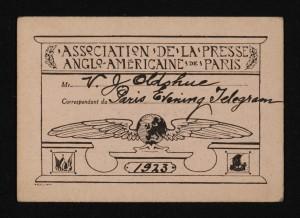 Valentine Oldshue press pass