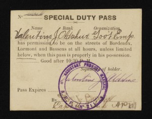 Valentine Oldshue special duty pass