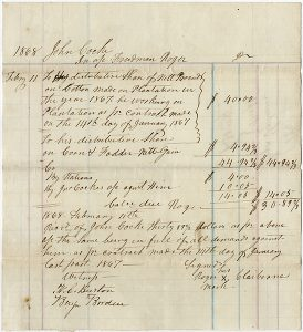 Handwritten page from plantation record book