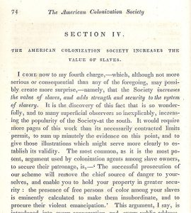 Partial page of William Lloyd Garrison's Thoughts on African Colonization: or An Impartial Exhibition of the Doctrines, Principles and Purposes of the American Colonization Society. Boston: Garrison & Knapp, 1832