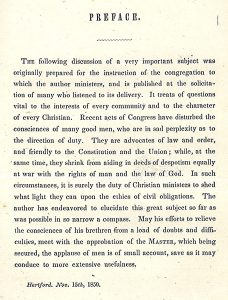 Partial page of William Weston Patton's Conscience and Law. New York: M. H. Newman & Co., 1850.
