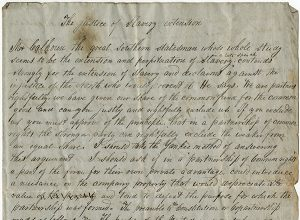 Handwritten essay on slavery