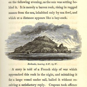 Portion of book page with illustration of the island Redonda with surrounding text