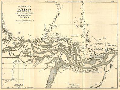 Map of Amazon River in Brazil, circa 1879