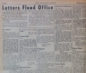 Closeup of the front page of the Crimson White newspaper, February 14 1956