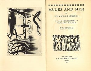 Title page and frontispiece of Hurston's Mules and Men