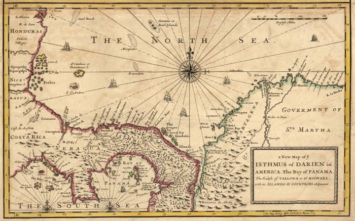 Map of modern Panama and surrounding territory, 1721