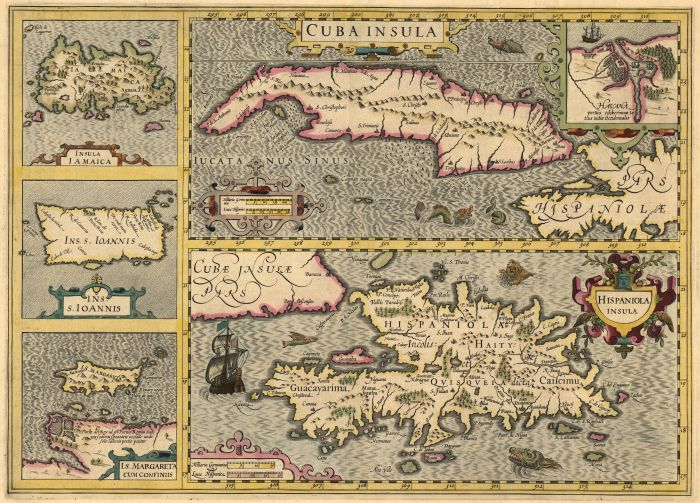 Sheet with five maps, including modern Jamaica, Hispaniola, Puerto Rico, Cuba, and St. Margarita, 1606
