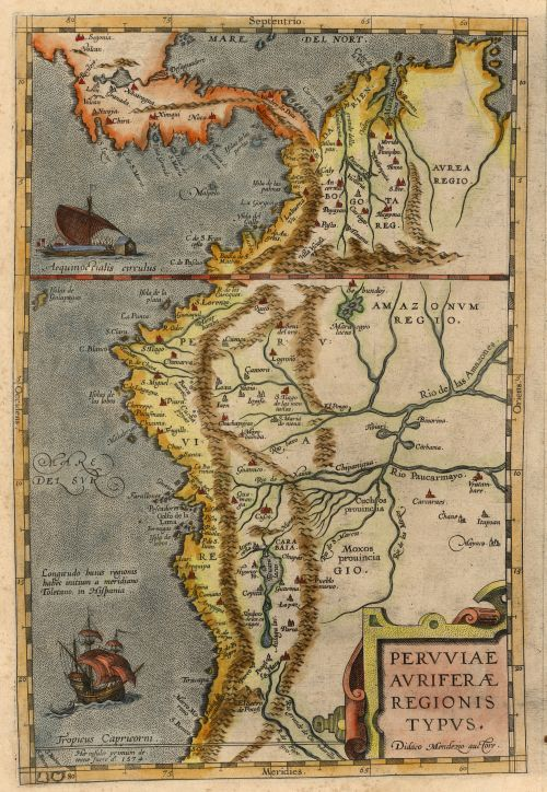 Map of the west coast of Central America and South America down to the Tropic of Capricorn, 1574