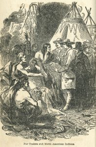 Illustration of fur trading between Europeans and Native Americans