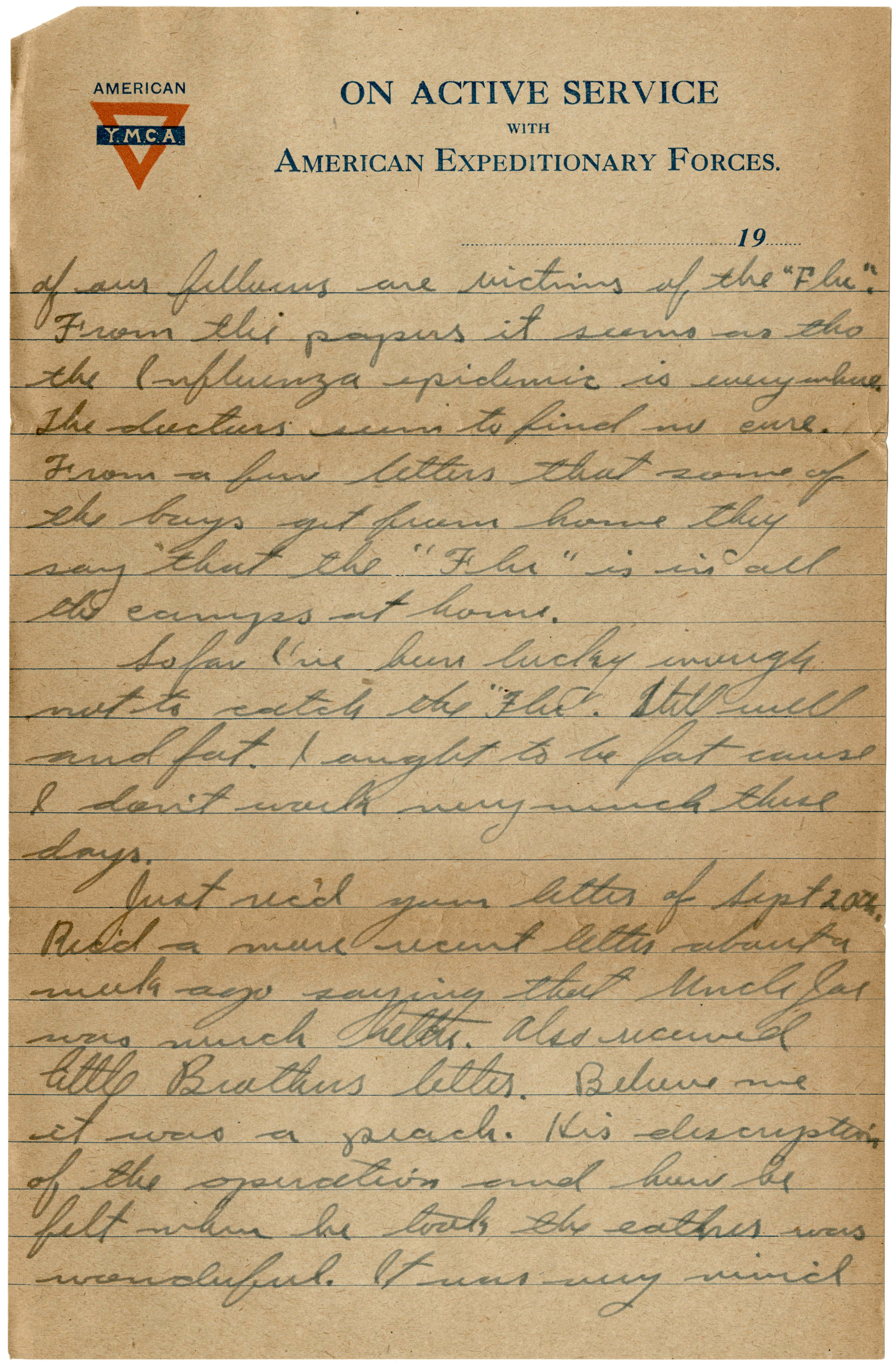 Page of a handwritten letter from 1918 on YMCA stationery illustrating how the Influenza pandemic was perceived by soldiers during World War One