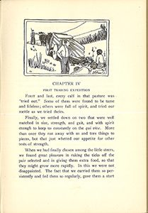 First page of chapter four, with an image at the top of the page, two people with a wagon